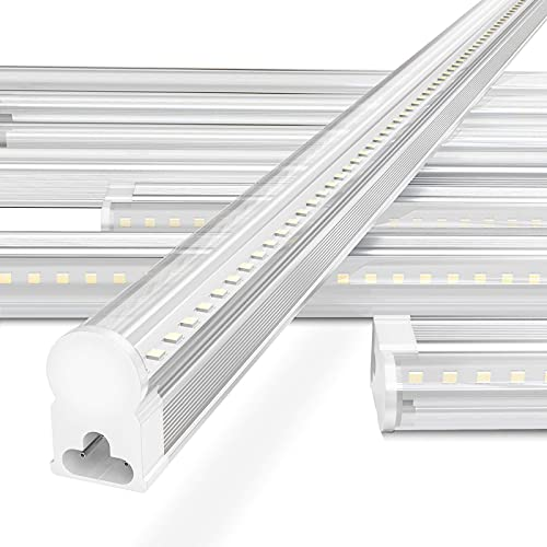 LED Shop Light 4ft 6500k 3100lm 24w, Clear Cover, Pack of 12, Linkable LED Shop Lights for Garage, Easy LED T5 Shop Lights for Workshop, Mounted Up-to Ceiling or Under Cabinet, Built-in On/Off Switch