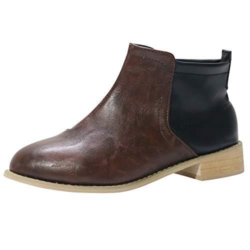 OHQ Botas De Mujer Invierno Suqare Tacones Slip-On Hit Color Botines Cortos Zapatos De Punta Redonda Botines para Mujer