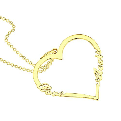 SOUFEEL Name Necklace Personalized Alexis Custom Heart Shape Necklace Nameplate Pendant Gifts Copper Plated Silver, Rose Gold, 14K Gold for Women, Men, Mom, Girls, Boys, Kids, Her, Him