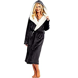 UULIKE Women Winter Plush Lengthened Shawl Home Clothes, Soft & Cosy Hooded Dressing Gown Housecoat Loungewear Bathrobe, Nightshirts Long Robe, Gifts for Mum Black