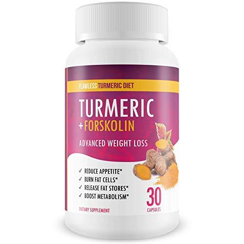 Flawless Turmeric Diet - Turmeric + Forskolin Advanced Weight Loss Formula - Suppress Appetite, Boost Metabolism, Burn Fat - 30 Day Supply