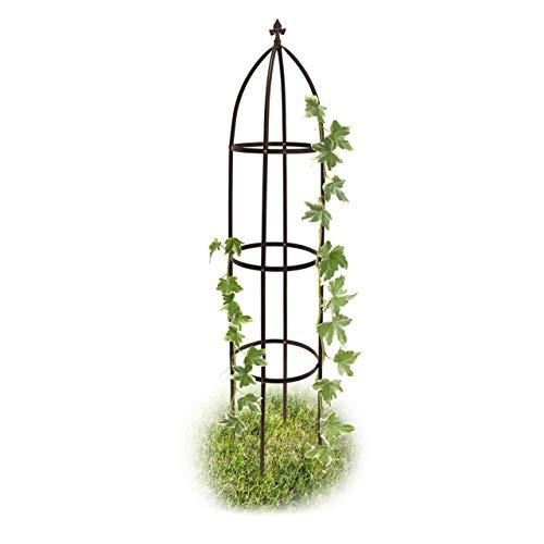 Relaxdays Rankhilfe Obelisk Metall 190 cm, Ranksäule witterungsbeständig freistehend f. Kletterpflanzen u. Rosen, braun