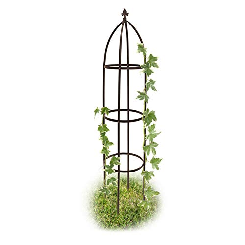 Relaxdays Metal Obelisk, 190 cm, Trellis for Climbing Plants, Support for Flowers and Vines, Brown