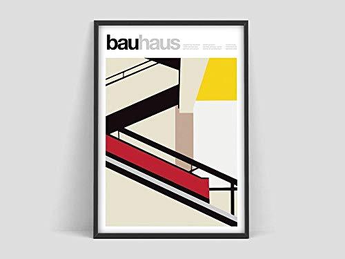 Póster de escalera Bauhaus, Weimar 1923, impresión de la exposición Bauhaus, impresión de la Bauhaus, Waln, impresión artística de Warhol, lienzo sin marco I 40x60cm