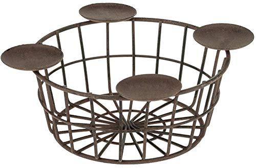 matches21 Metallkorb mit 4 Kerzenhaltern/Kerzentellern Adventsgesteck zum selbst dekorieren Rostoptik 1 STK Ø 18-23 cm