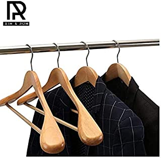 Ash & Roh Set of 6 Premium Finished Wooden Suit Hangers - Wide Wood Hanger for Coats and Pants (Beige)