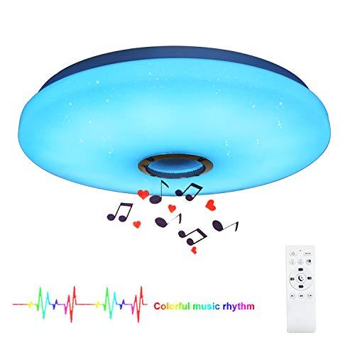 24W Bluetooth Plafoniera LED Musica Lampada a Soffitto con Telecomando e Altoparlante Bluetooth Adatto per Camera da Letto Soggiorno Camera dei Bambini