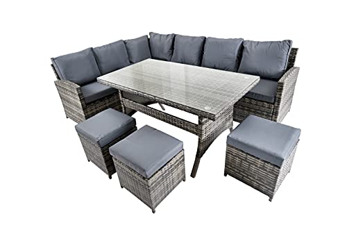 SHATCHI 4/5/6pcs Corner Set of Grey Rattan Seven/Five Seater Sofa, Table, Large Small Stools Indoor/Outdoor Garden Furniture Patio Conservatory