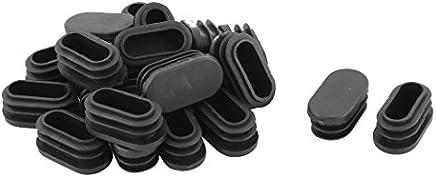 sourcing map 21Stk Schule Plastik Ovale Stuhl Bein Fußkappe Schlaucheinsatz Schwarz 39 x 19mm