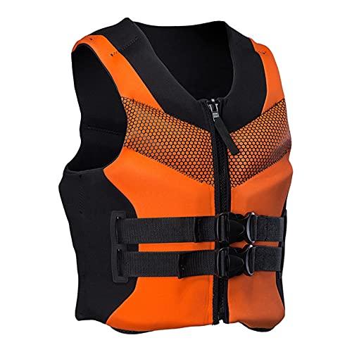 GDZHL Chaleco Salvavidas, Chaleco de Natación Portátil y Transpirable Flotación con un Silbato, Chaleco de Kayak Deportivos Acuáticos (2XL,Naranja)