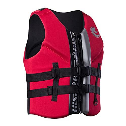 HLYT-0909 Chaleco salvavidas unisex de neopreno, con cremallera frontal, ayuda para pesca, surf, buceo, rafting, kayak, rojo, S