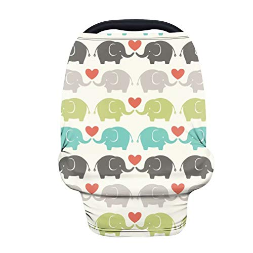GOSTONG Elephant Couple Stroller Cover Privacy Nursing Cover Baby Carseat Canopy High Chair Cover Nursery Cover Breastfeeding Scarf for Boys and Girls,Light Blanket Stroller Cover