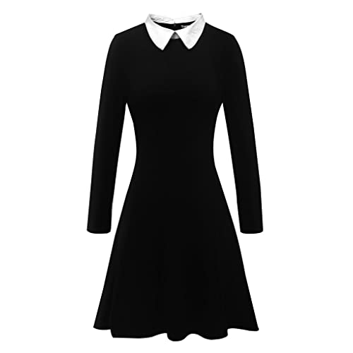 bb05220000ddd1 Aphratti Women's Long Sleeve Casual Peter Pan Collar Fit and Flare Skater  Dress