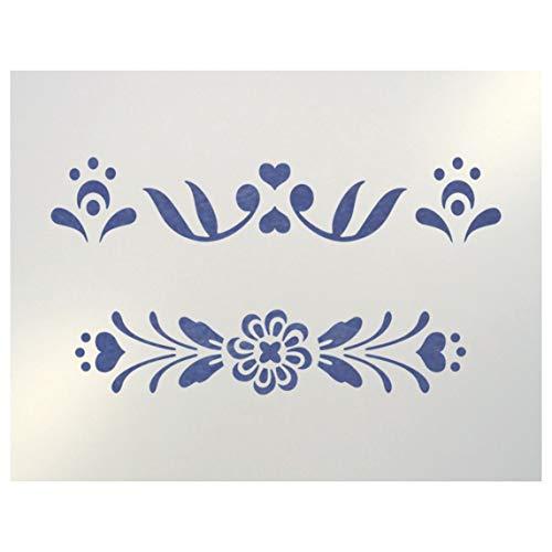 Rosemaling Pattern 3 & 4 Mini Stencils - The Artful Stencil