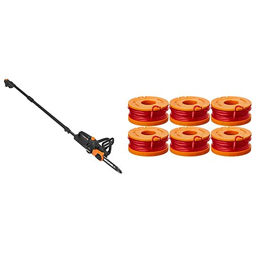 WORX WG323 20V Power Share Cordless 10-inch Pole Saw/Chainsaw with Auto-Tension & WA0010 6-Pack Replacement Trimmer Line for Select Electric String Trimmers
