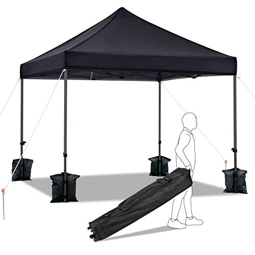 Yaheetech 3x3m Pop Up Gazebo, Heavy Duty Shelter Gazebo with Weights , Outdoor Party Camp Shelter with Wheeled Carry Bag and Sand Bags, Black