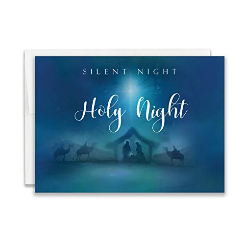Silent Night Religious Christmas Card with Scripture - Pack of 24