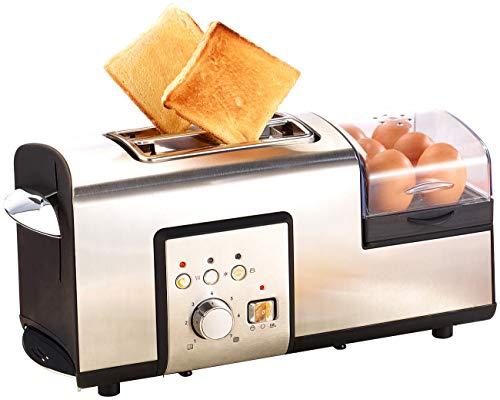 Rosenstein & Söhne Toaster Eierkocher Kombi: 3in1-Edelstahl-Multifunktionstoaster mit Eierkocher, 1.250 Watt (Multitoaster)