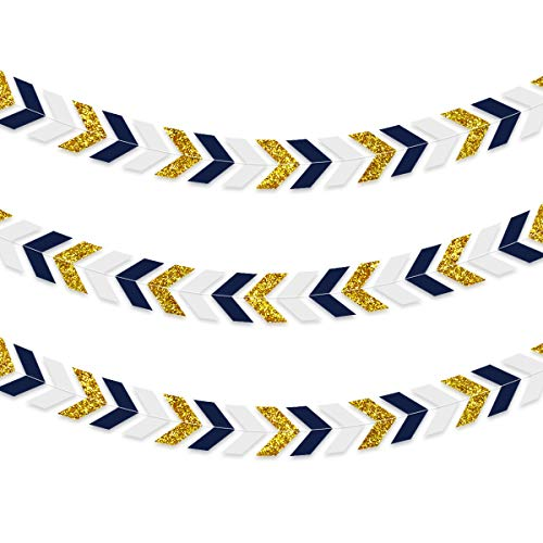 NICROLANDEE 3pcs Nautical Party Decorations Navy Blue Paper Arrow Banner Garland Gold Glitter Chevron Design Tribal Party Wall Window Streamer for Baby Shower Birthday Bachelorette Party Supplies