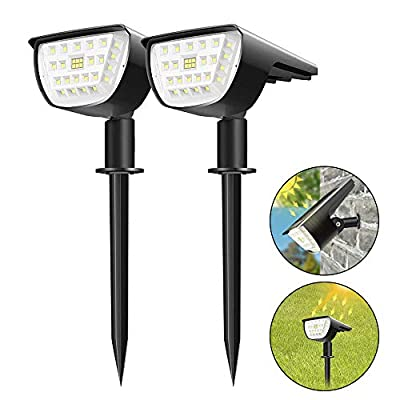 32 LEDs Outdoor Solar Landscape Spotlights IP67 2-in-1 Waterproof Wireless Outdoor Solar Landscaping Light Wall Light for Yard Garden Driveway Porch Walkway Pool Patio