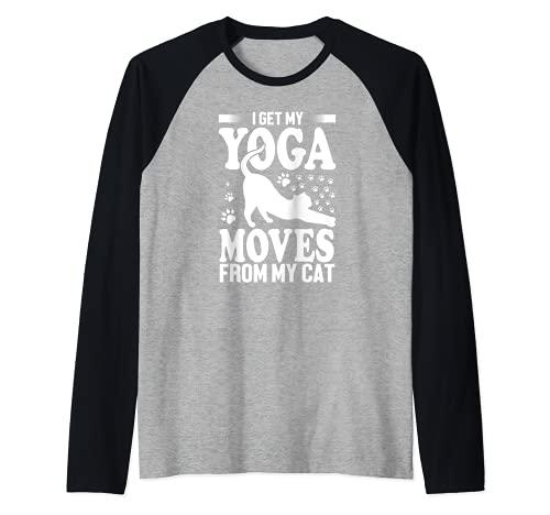 I Get My Yoga Moves From My Cat - Yoga Cat Lover Funny Camiseta Manga Raglan