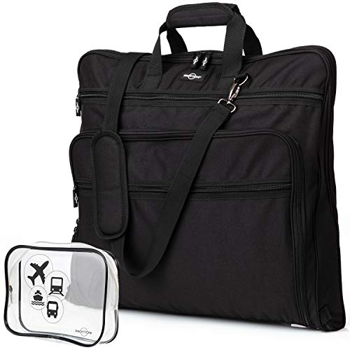 Prottoni 44-Inch Suit Carrier For Travel - Garment Suitcase With Toiletry Bag (Black + Clear Toiletry Bag, 44')