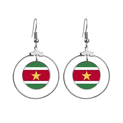 Suriname Nationale Vlag Zuid-Amerika Land Oorbellen Dangle Hoop Sieraden Drop Cirkel
