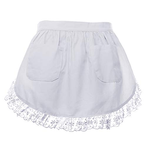 Aspire Waist Apron for Lady Medium Size Lace Cotton Kitchen Half Apron with Two Pockets Maid Costume