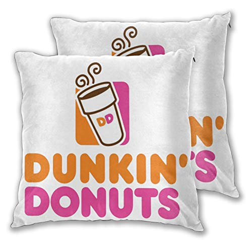 Tappetino Dun-Kin Donuts Square Pillow Set of 2 Bread Sweets Fashion Cute Bedding 3D 20'X20' White