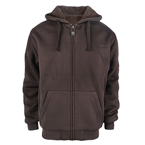 Heavyweight 1.8 lbs Full-Zip Sherpa Lined Fleece Hoodies for Men Plus Size 5X Big and Tall Warm Jackets 5XL Coffee Brown