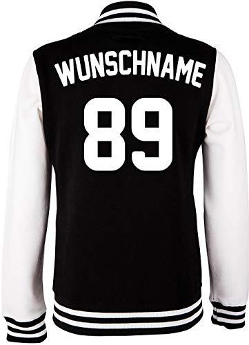 EZYshirt® Damen Herren Kinder College Jacke Athletic mit Wunschnamen und Wunschnummer   Baseball Jacke  