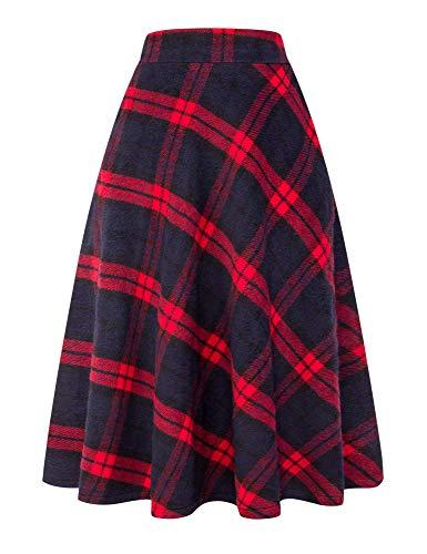 IDEALSANXUN Womens High Elastic Waist Maxi Skirt A-line Plaid Winter Warm Flare Long Skirt (Large, Long Red)