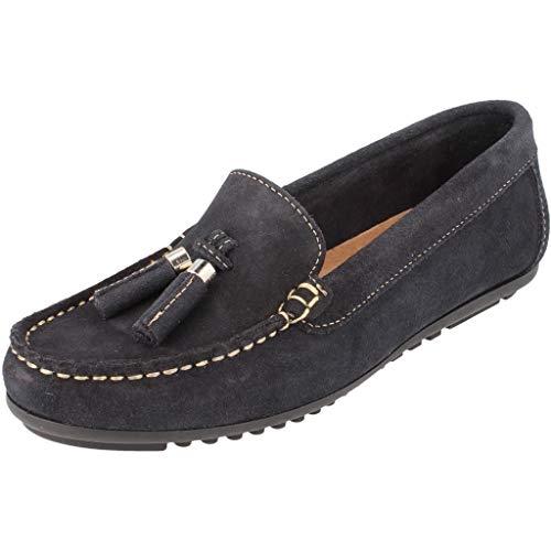 BOnova Damen Mokassin Capdapera in 4 Farben, Trendige Slipper aus hochwertigem Veloursleder - geschmeidige Loafer - hergestellt in der EU Navy blau 38