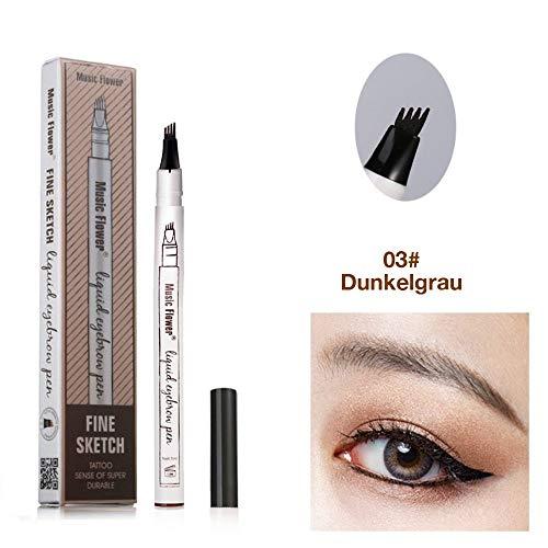 Augenbrauenstift Wasserfest - WaterproofMicrobladingPen mit Tips Wasserfester Langenhaltend für Natürlich Augenbrauen Schminke (Dunkelgrau)