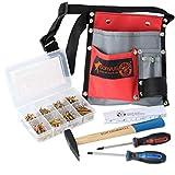 CORVUS El cinturón de herramientas textil contiene: 2 destornilladores en cruz PH1/PH2, caja de tornillos de madera, varilla métrica y martillo.
