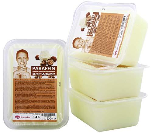 Kosmetex Paraffin-wachs Karité Sheabutter, Paraffinbad Wachs mit niedrigeren Schmelzpunkt, 4x 500ml