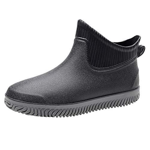 FNKDOR Schuhe Herren Modisch Kurz Gummistiefel Wasserdicht rutschfest Flach Regenstiefel Im Freien Wasserschuhe Schwarz.A 42 EU