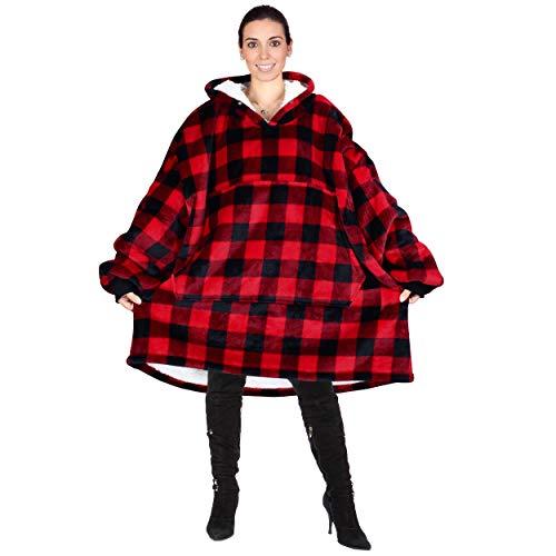 Kato Tirrinia Übergroße Sherpa Hoodie Sweatshirt Decke, Weiche Warme Riesen Hoodie Fronttasche Giant Plüsch Pullover kariert Decke mit Kapuze for Erwachsene Männer Frauen Teenager, Rotes Plaid