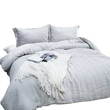 Lausonhouse 100% Linen Duvet Cover Set - King - Gray