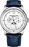 Stuhrling Original Mens MoonPhase Dress Watch - Stainless Steel Case and Blue Leather Band - White Analog Dial with Day of The Week and Date Celestia Mens Watches Collection