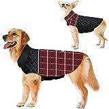 Warm Dog Jacket Reversible British Style Plaid Dog Vest Windproof Winter Dog Coat for Small Medium Large Dogs