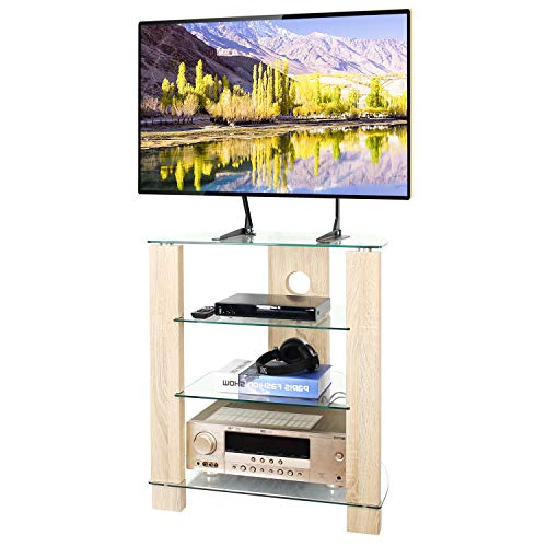 TAVR 4-Tier Wood Media Compontent TV Stand Audio Video Tower Rack HiFi Stereo Cabinet Stand with Tempered Glass Shevles for TV/Xbox/Gaming Consoles/Media Component/Streaming Device ,Cable Mangement