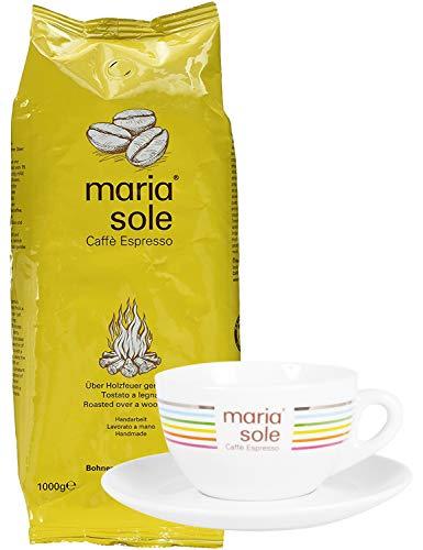 MariaSole Caffè Espresso 1 kg + GRATIS CAPPUCCINO TASSE Ganze Kaffeebohnen aus Italien Premium Espressobohnen über Holzfeuer handgeröstet