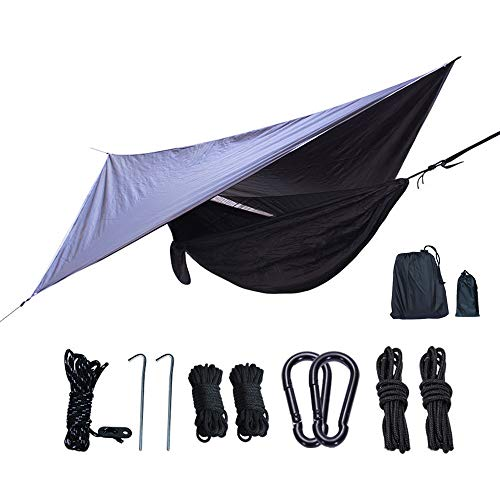 Portable Double Parachute Hammock, Camping Hammock with Mosquito Net and Rainfly Tarp - Weights Only 2.5 Pounds - for Mountain Forest Beach and Park
