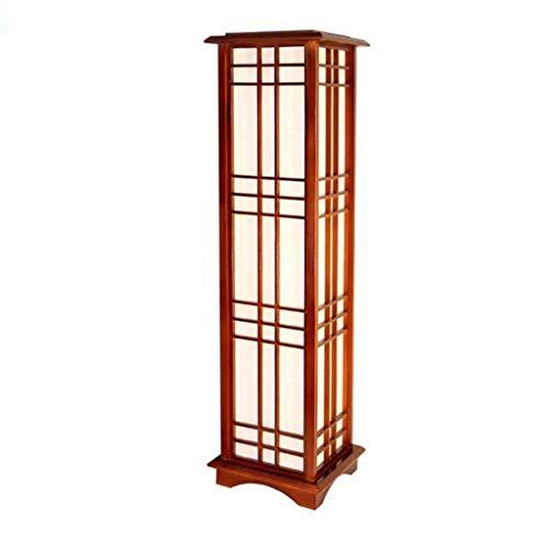 Lampadaire en bois massif de style japonais de forme carrée en bois de chêne avec une lumière blanche et chaude E27 LED pour le salon de la chambre (Color : Warm light-90cm)