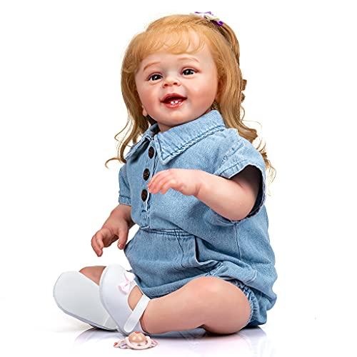 LOLOVI BBR 60 cm/23 pol. Boneca bebê menina boneca nutritiva realista feita à mão corpo macio com cabelo loiro enraizado presente popular