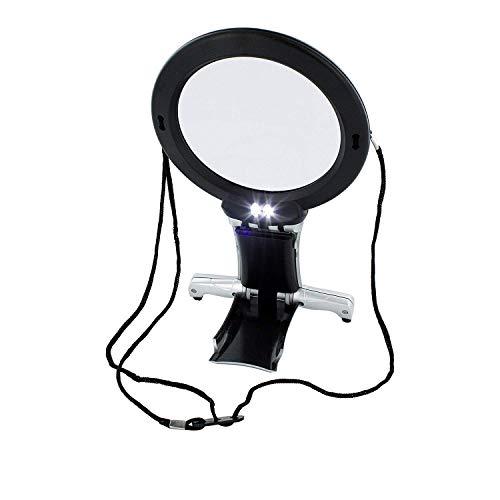 ARSUK Lupas, LED encendido Cuello y escritorio Lupa con soporte para lectura, costura, hobby, joyería, reparación de punto de cruz, manualidades de arte (Lupa de cuello y escritorio)