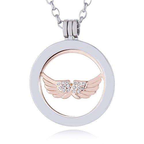 Morella Mujeres Collar 70 cm Acero Inoxidable con Amuleto y Colgante Coin 33 mm alas de ángel Oro Rosa en Bolsa de la joyería