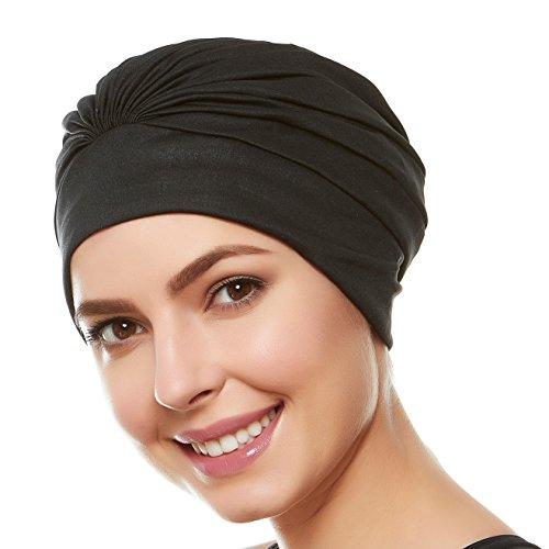 Beemo Women's Swim Bathing Cap Turban Polyester Latex Lined - Black