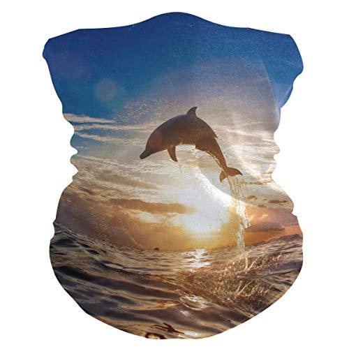Alarge weiches Kopftuch, lustige Tiere, Delfin, Sonnenuntergang, atmungsaktives Bandana für Gesicht, Staub, Sonnenschutz, Maske, Halstuch, Gamaschen, Sturmhaube, Kopfband für Kinder, Mädchen, Jungen